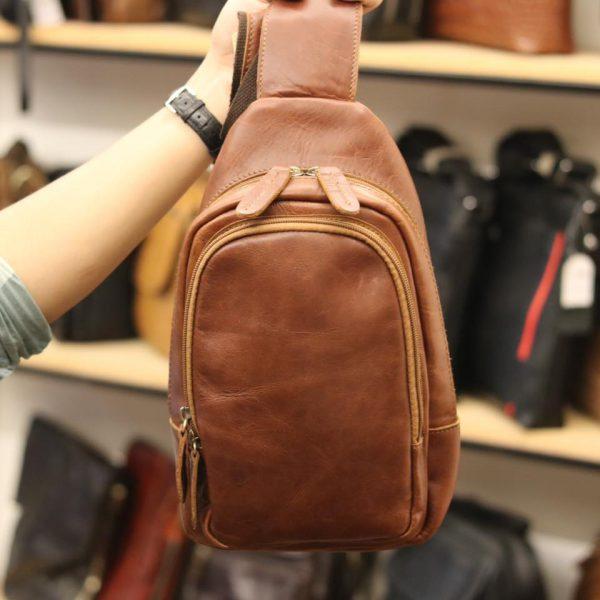 Túi da đeo trước ngực cho nam thời trang Lano cách điệu TDL36