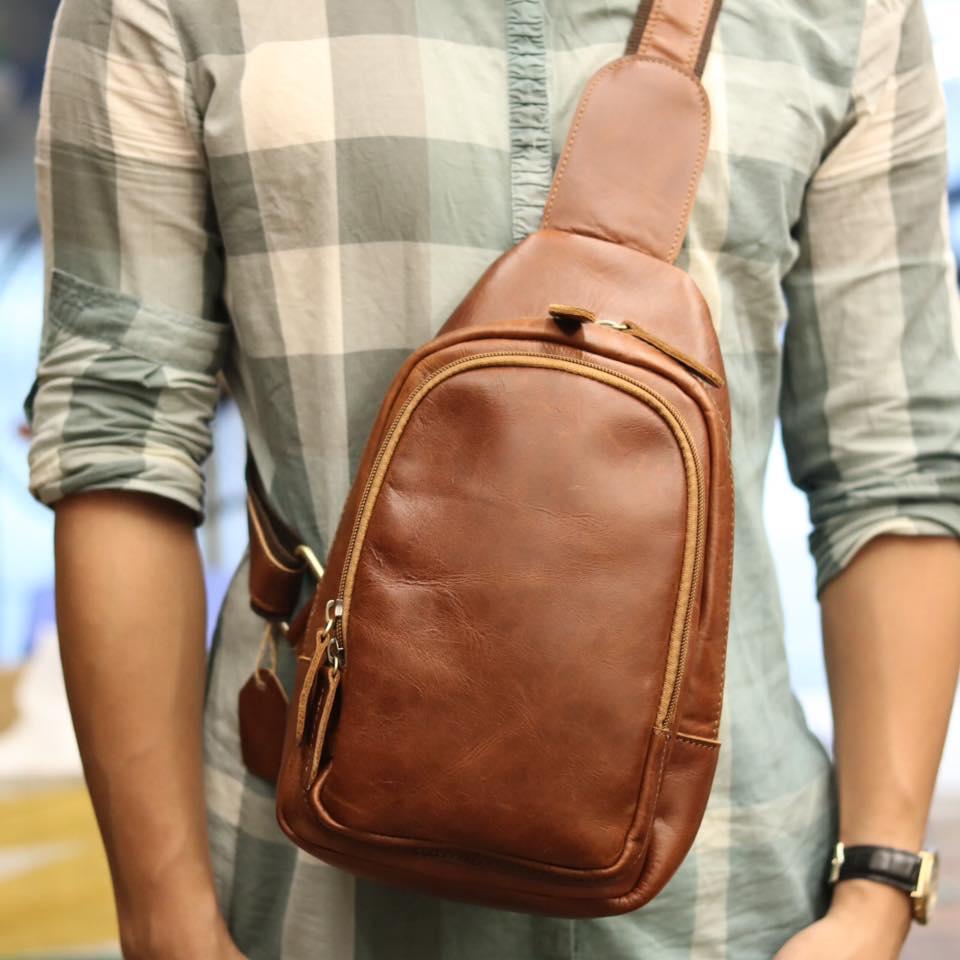 Túi da đeo trước ngực cho nam thời trang Lano cách điệu TDL36 đeo trước ngực