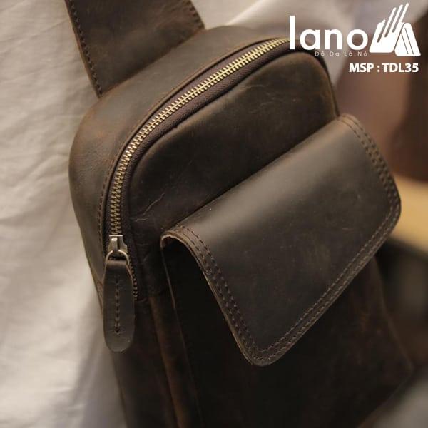 Túi da đeo chéo ngực nam Lano thời trang cao cấp TDL35 nâu đeo lưng