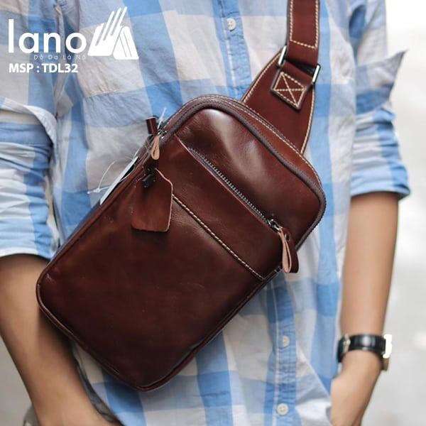Túi da Lano đeo chéo trước ngực Sling Bag thời trang cao cấp TDL32 nâu đỏ đeo trước ngực