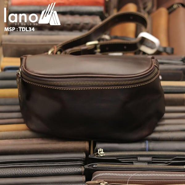 Túi đeo chéo bụng, lưng nam da thật thời trang Lano tiện lợi TDL34