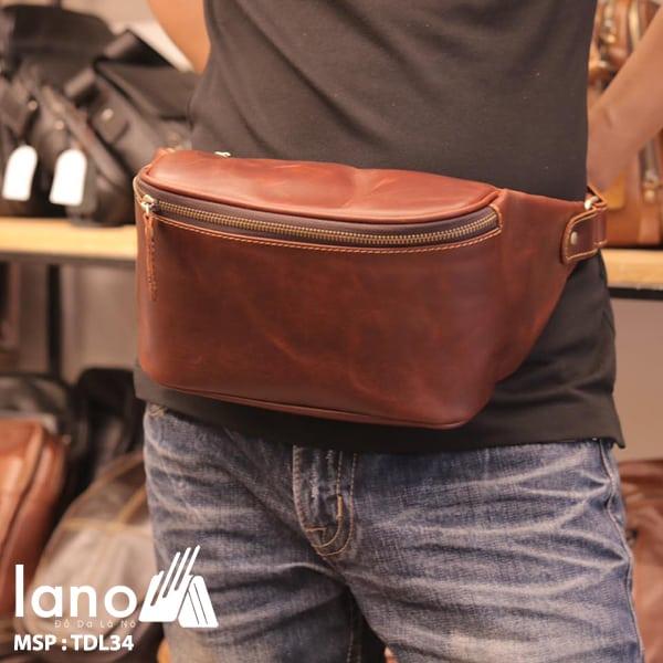 Túi đeo chéo bụng, lưng nam da thật thời trang Lano tiện lợi TDL34 đen - đeo bụng