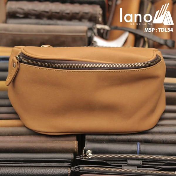 Túi đeo chéo bụng, lưng nam da thật thời trang Lano tiện lợi TDL34 nâu vàng