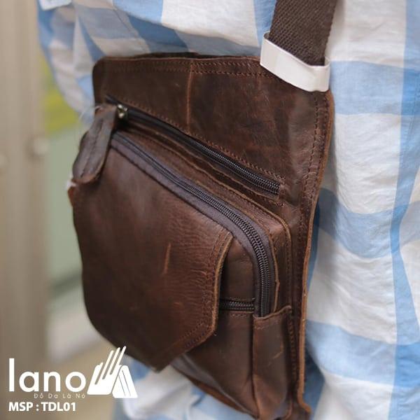 Túi đeo lưng cho nam Lano bằng da thật 001 đeo lưng