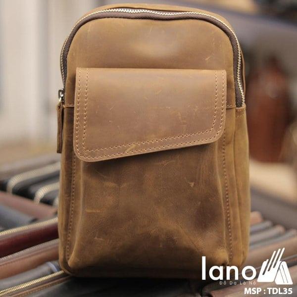 Túi da đeo chéo ngực nam Lano thời trang cao cấp TDL35