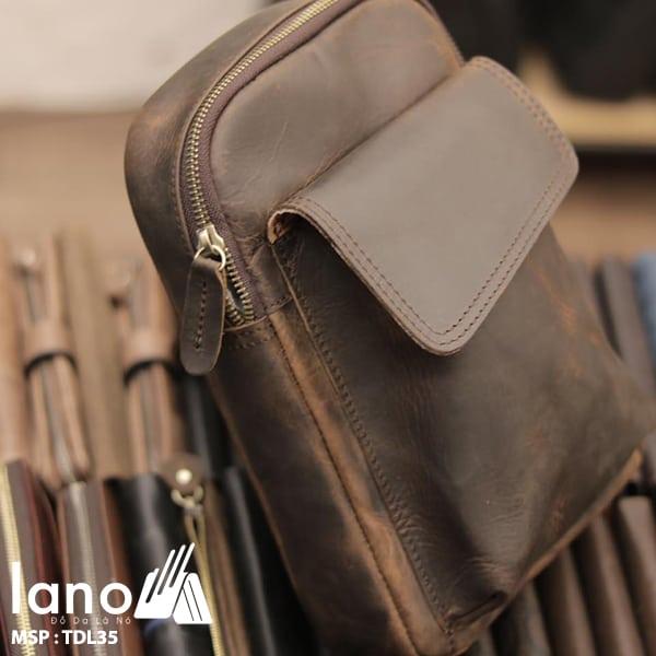 Túi da đeo chéo ngực nam Lano thời trang cao cấp TDL35 nâu - nghiêng mặt trước