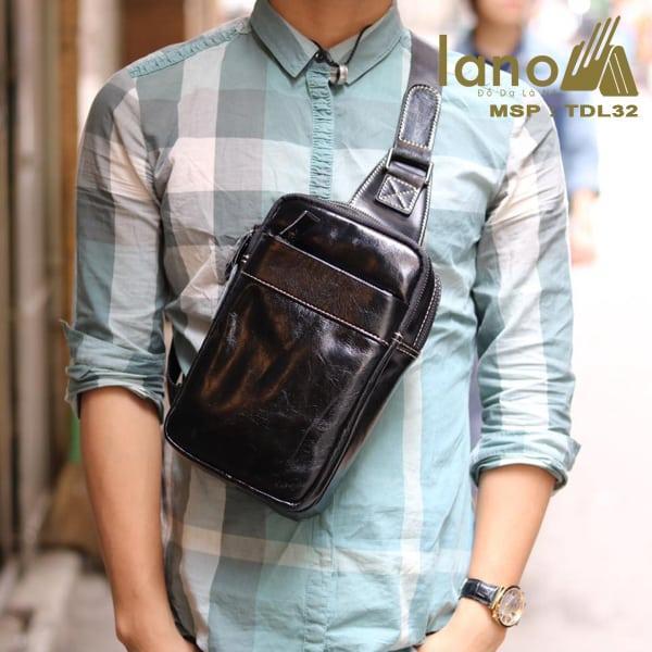 Túi da đeo chéo trước ngực Sling Bag thời trang cao cấp TDL32 đen bóng - đeo trước ngực