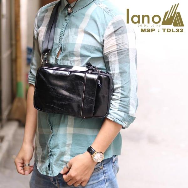 Túi da đeo chéo trước ngực Sling Bag thời trang cao cấp TDL32 đen bóng