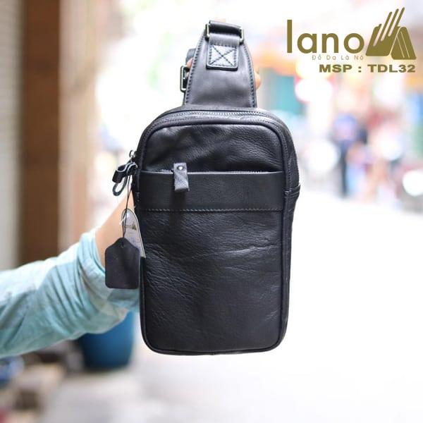 Túi da đeo chéo trước ngực Sling Bag thời trang cao cấp TDL32 đen