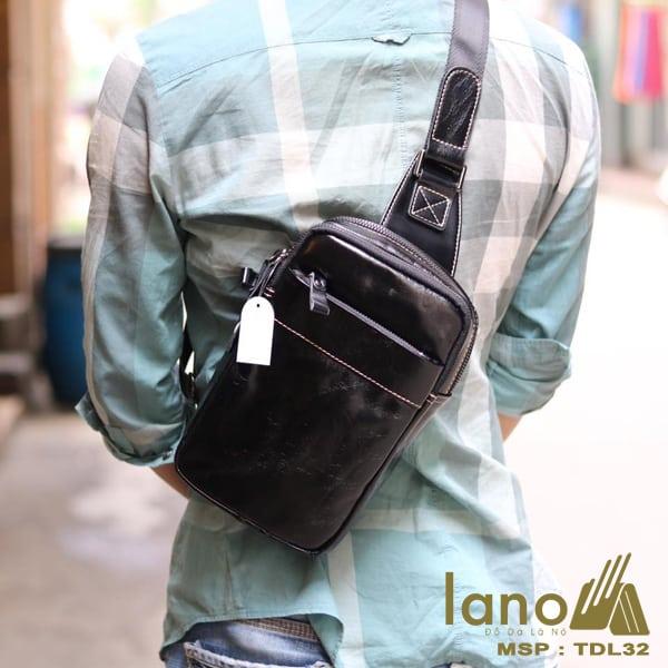 Túi da đeo chéo trước ngực Sling Bag thời trang cao cấp TDL32 đen bóng - đeo chéo