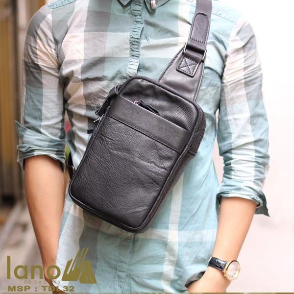 Túi da đeo chéo trước ngực Sling Bag thời trang cao cấp TDL32 đen - đeo trước ngực