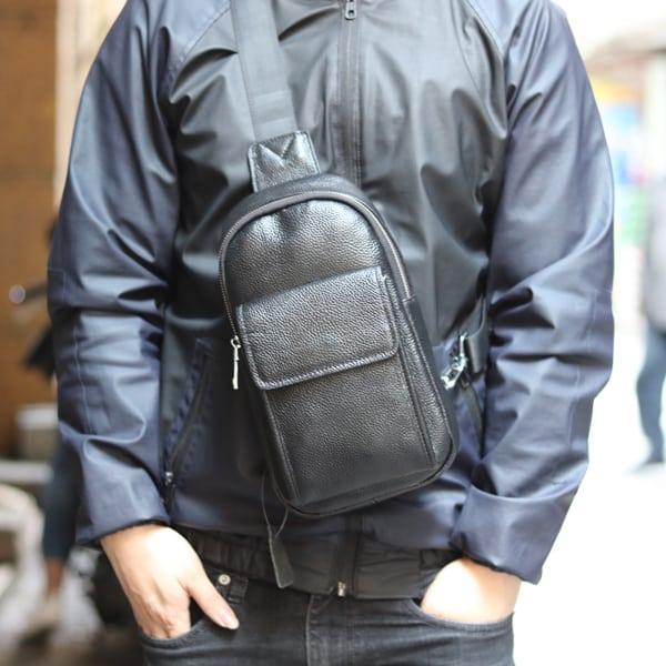 Túi da đeo ngực nam thời trang công sở TDL23 đeo trước ngực