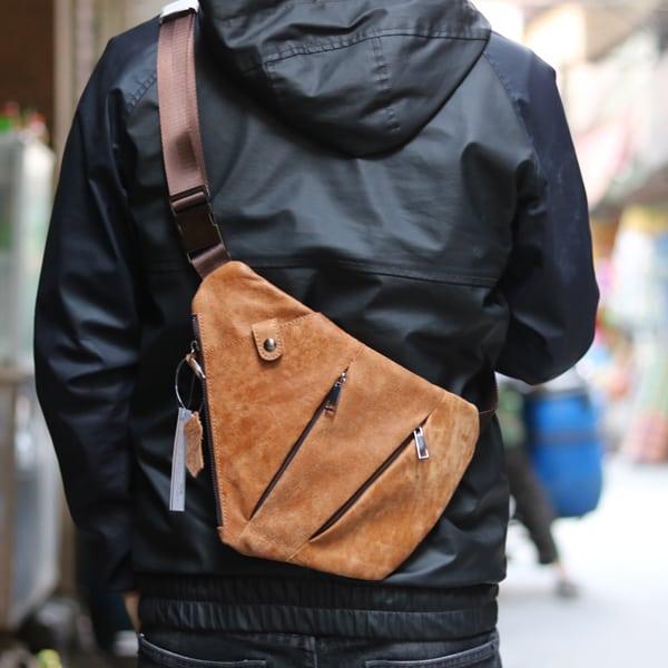 Túi da đeo ngực nam thời trang độc đáo TDL25 đeo cheo sau lưng