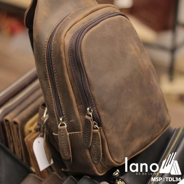 Túi da đeo trước ngực cho nam thời trang Lano cách điệu TDL36 nghiêng