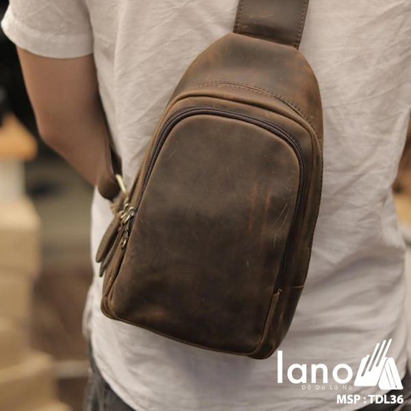 Túi da đeo trước ngực cho nam thời trang Lano cách điệu TDL36 đeo lưng