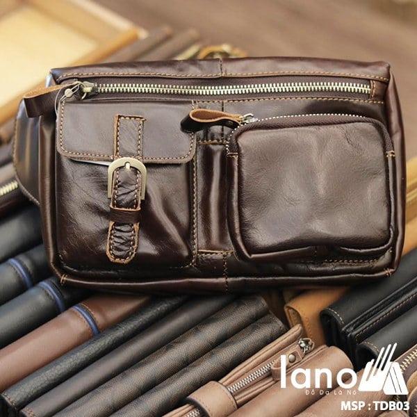 Túi đeo bụng da thật thời trang Lano nam tính TĐB 003