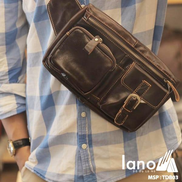 Túi đeo bụng da thật thời trang Lano nam tính TĐB 003 đeo trước ngực