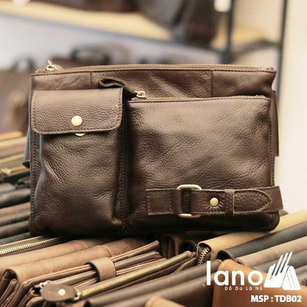 Túi đeo bụng nam da thật thời trang Lano tuyệt đẹp TĐB 002