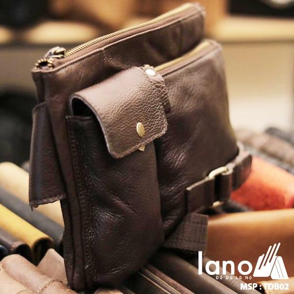Túi đeo bụng nam da thật thời trang Lano tuyệt đẹp TĐB 002 nghiêng