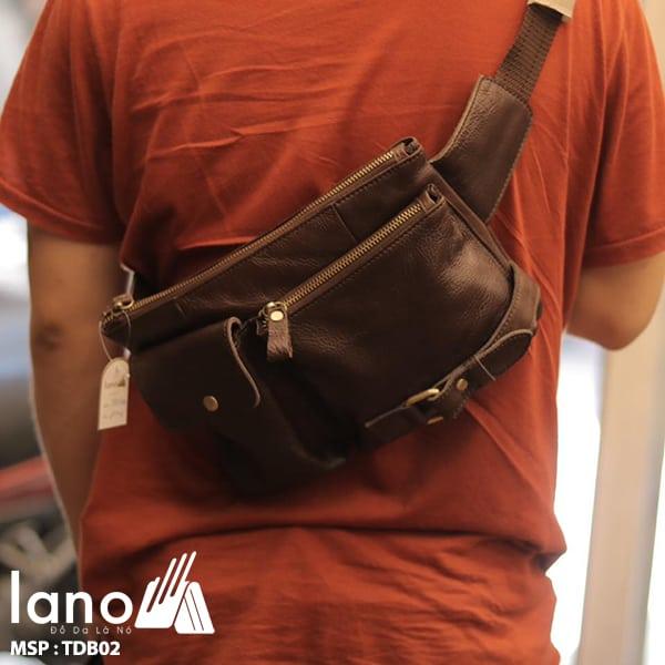 Túi đeo bụng nam da thật thời trang Lano tuyệt đẹp TĐB 002 đeo chéo sau lưng