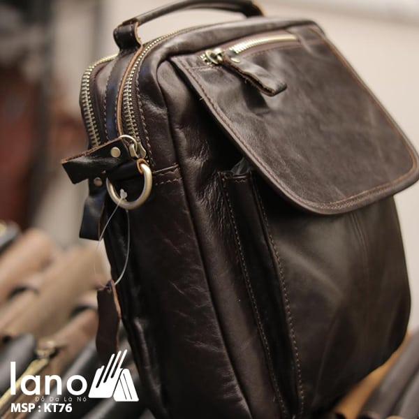 Túi đeo chéo nam mini da thật có quai xách KT76 cạnh bên