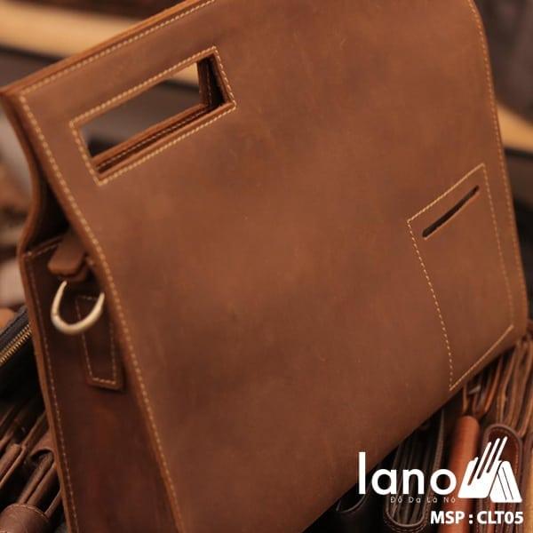 Túi da cầm tay cho nam Lano sang trọng lịch lãm CLT005 nghiêng