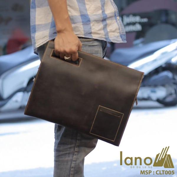 Túi da cầm tay cho nam Lano sang trọng lịch lãm CLT005 xách tay
