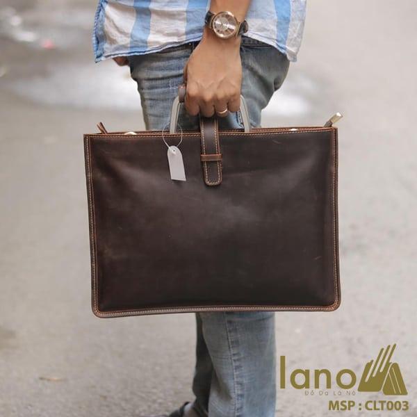 Túi da nam cầm tay thời trang Lano gọn nhẹ CLT003 xách tay