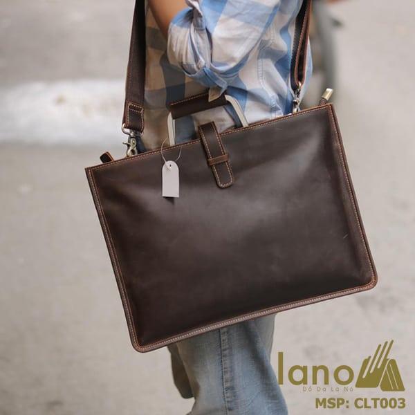 Túi da nam cầm tay thời trang Lano gọn nhẹ CLT003 đeo chéo