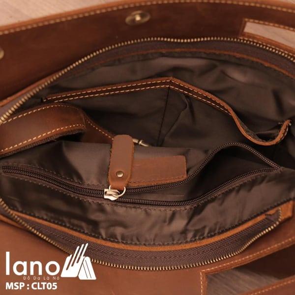 Túi da cầm tay cho nam Lano sang trọng lịch lãm CLT005 bên trong