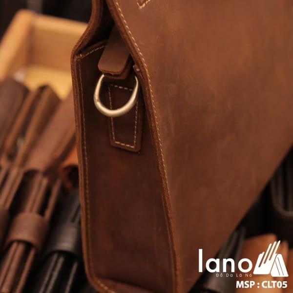 Túi da cầm tay cho nam Lano sang trọng lịch lãm CLT005 cạnh bên