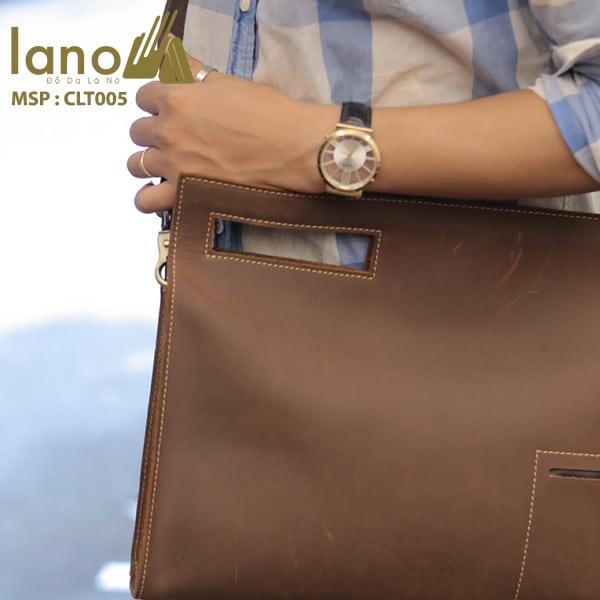 Túi da cầm tay cho nam Lano sang trọng lịch lãm CLT005 đeo chéo