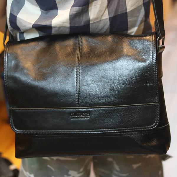 Cặp túi xách đeo chéo nam da thật Lano Contact 12