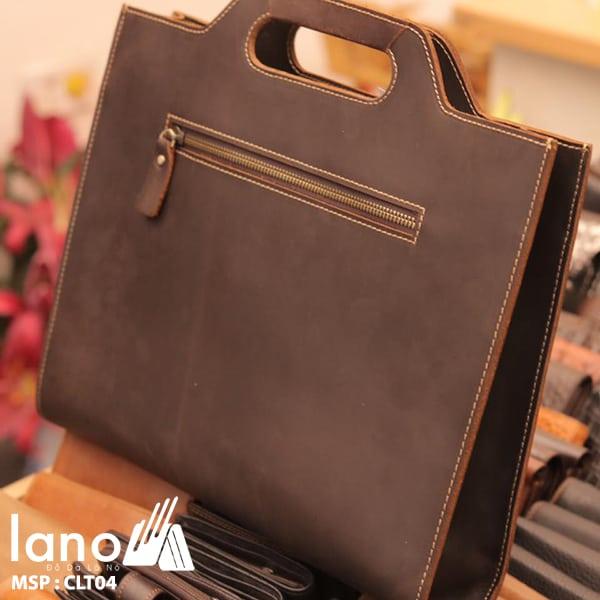 Túi cầm tay nam Lano da thật sang trọng lịch lãm tiện dụng CLT004 mặt sau