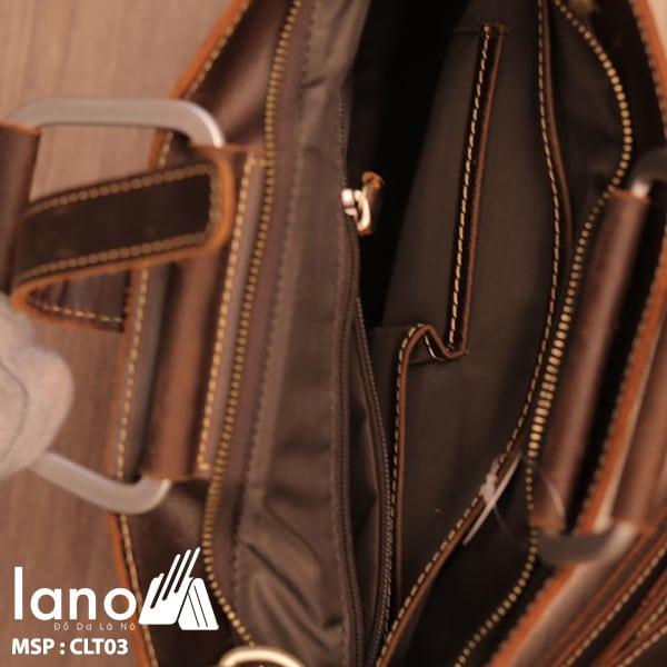 Túi da nam cầm tay thời trang Lano gọn nhẹ CLT003 bên trong