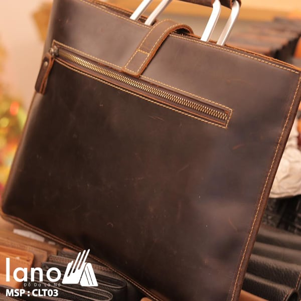 Túi da nam cầm tay thời trang Lano gọn nhẹ CLT003 mặt sau