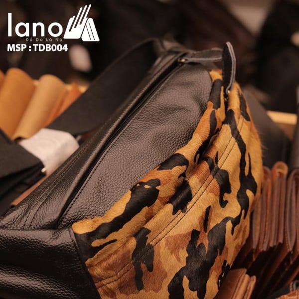 Túi đeo chéo bụng da bò thời trang Lano phong cách TĐB004 nghiêng