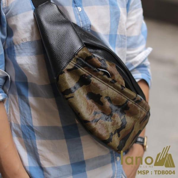 Túi đeo chéo bụng da bò thời trang Lano phong cách TĐB004 đeo chéo