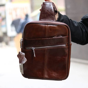 Túi đeo ngực nam Lano thời trang da thật siêu mỏng TDL08