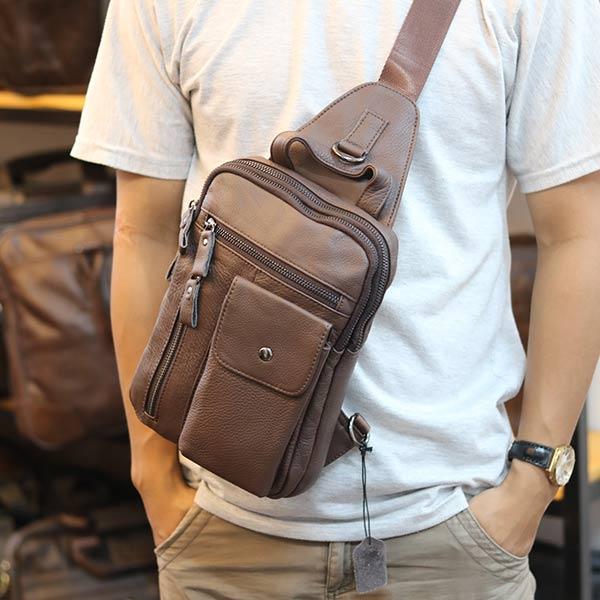 Túi đeo trước ngực nam Lano da bò thật 100% TDL37 đeo chéo