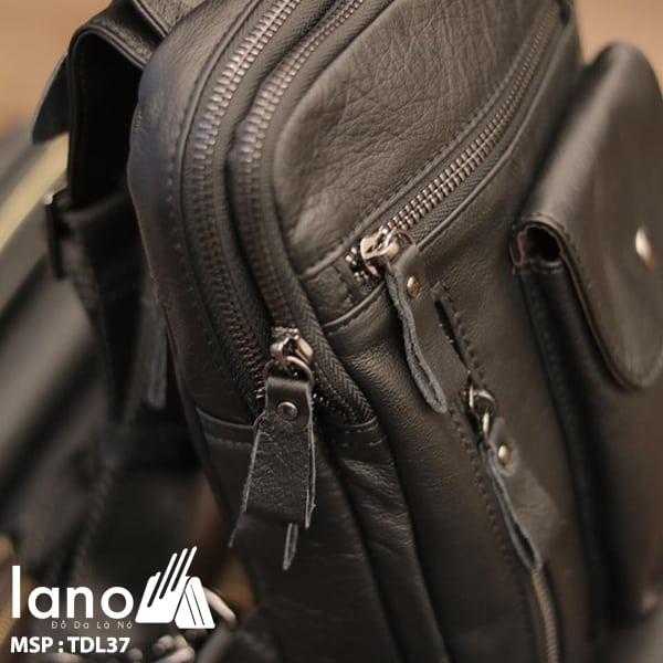 Túi đeo trước ngực nam Lano da bò thật 100% TDL37 đen - cạnh bên