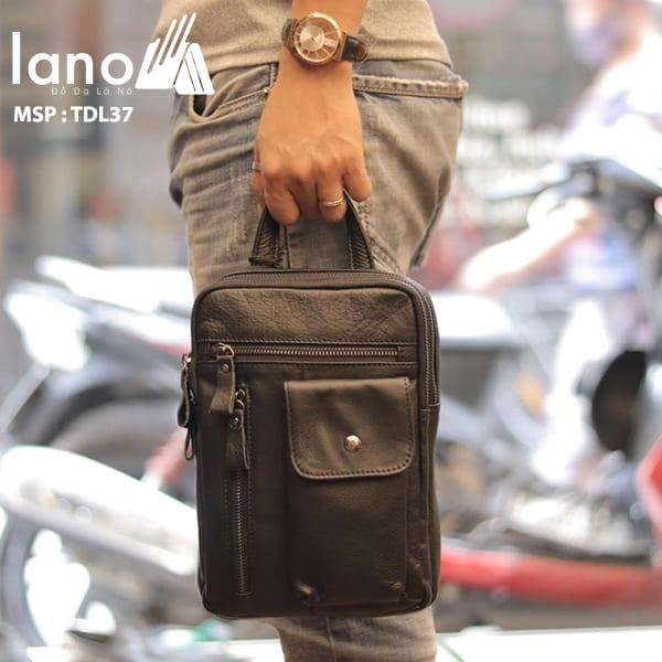 Túi đeo trước ngực nam Lano da bò thật 100% TDL37 đen - xách tay