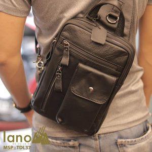 Túi đeo trước ngực nam Lano da bò thật 100% TDL37 đen - đeo lưng