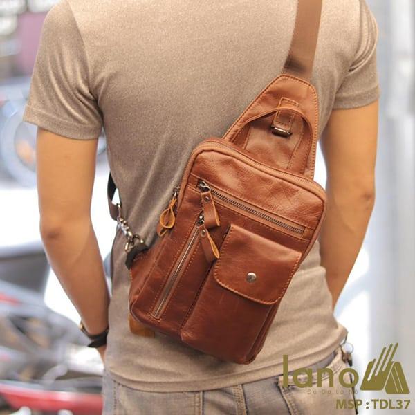 Túi đeo trước ngực nam Lano da bò thật 100% TDL37 đỏ - đeo lưng
