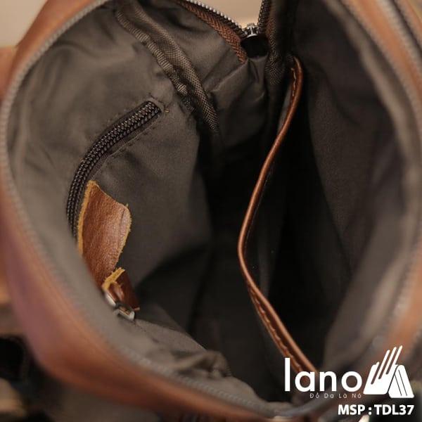 Túi đeo trước ngực nam Lano da bò thật 100% TDL37 đỏ - bên trong