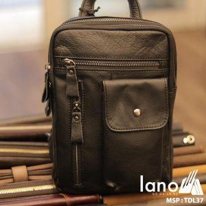 Túi đeo trước ngực nam Lano da bò thật 100% TDL37 đen