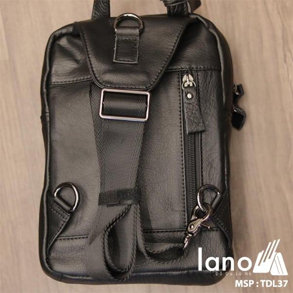 Túi đeo trước ngực nam Lano da bò thật 100% TDL37 đen - mặt sau