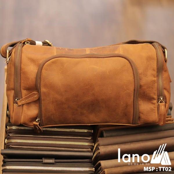 Túi trống du lịch da thật thời trang Lano tiện lợi TT02