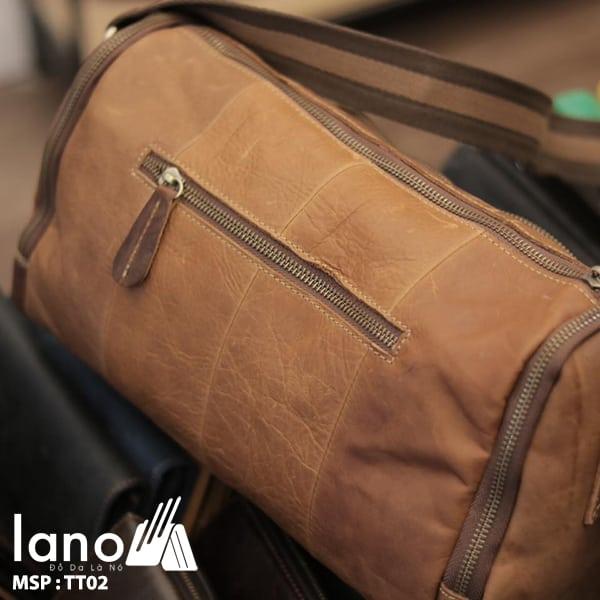 Túi trống du lịch da thật thời trang Lano tiện lợi TT02 mặt sau