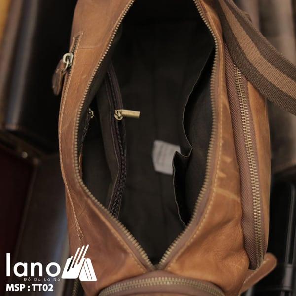 Túi trống du lịch da thật thời trang Lano tiện lợi TT02 bên trong